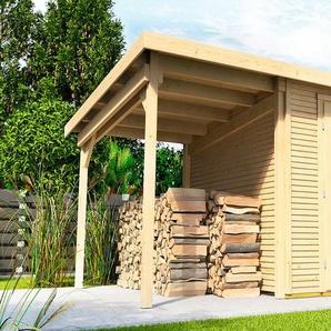 WOLFF Set: Gartenhaus »Pulti Softline 2424«, BxT: 407x286 cm, inkl. Fußboden und Anbaudach