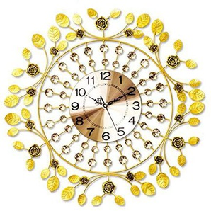 GUAZ Eisen Elegante Rose Wanduhr Mode Kreative Kunst Salon Moderne Personalisierte Dekoration Hängende Uhr, Golden