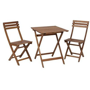 greemotion Balkonset Borkum - Balkonmöbel-Set aus Holz klappbar - Bistro-Set 3-teilig - Gartenmöbel Akazie massiv – Balkontisch mit 2 Stühlen - Tisch & Stühle für Garten, Terrasse & kleiner Balkon