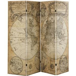 Paravent mit Druckmotiv alte Landkarte