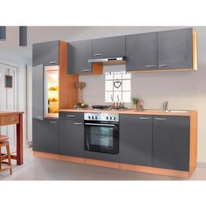 Respekta Küchenzeile ohne E-Geräte LBKB270BG 270 cm Grau-Buche Nachbildung