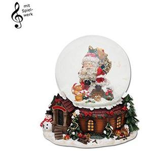 Wichtelstube-Kollektion Schneekugel mit Spieluhr here comes santa claus