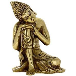 Buddhismus dekorkunst - schöne buddha schlaf ruht goldenen messing skulptur - 6,1 x 4,1 x 3,8 cm
