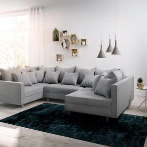 Wohnlandschaft Clovis Grau Flachgewebe mit Armlehne Modulsofa, Design Wohnlandschaften, Couch Loft, Modulsofa, modular