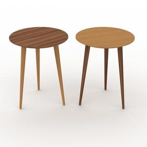 Couchtisch Eiche, Holz - Eleganter Sofatisch: Beste Qualität, einzigartiges Design - 40/40 x 50/50 x 40/40 cm, Konfigurator