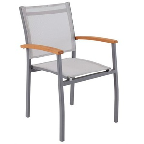 OUTDOOR Stuhl /Stapelstuhl /Gartenstuhl mit Armlehnen KIAN Aluminium/Textilene/Holz Braun