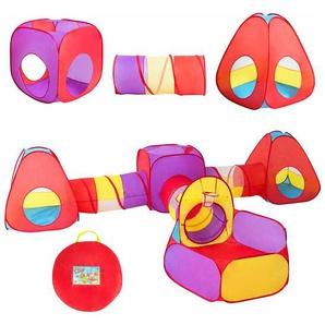 COSTWAY 7-teiliges Kinderspielzelt, Bllebad Kinderzelt, Spieltunnel aufklappbar, Krabbeltunnel inkl. Tragetasche, Kriechtunnel, Spielzelt, Babyzelt fuer 3-5 Jahre alte Kinder, Mehrfarbig