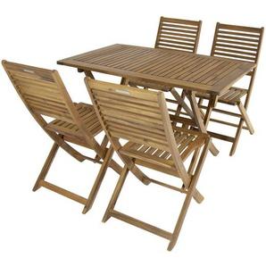 Bentley Garden - Gartenmöbel-Set aus Holz - Rechteckiger Tisch + 4 Stühle - CHARLES BENTLEY