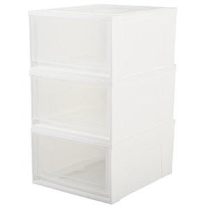 IRIS, 3er-Set stapelbare Schubladen / Schubladenboxen / Ablagesystem Maxi Drawer, Größe M, 30 L, Plastik, weiß, 45 x 39 x 22,7 cm