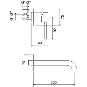 UP-EINHAND-WASCHTISCHMISCHER Porta & Bini FORMA 23116.20 | Chrom - 200 mm - PORTA & BINI RUBINETTERIA