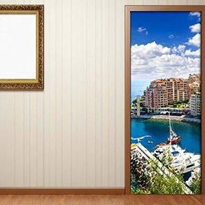 Türaufkleber Skyline Monte Carlo Monaco Frankreich Tür Bild Türposter Türfolie Türtapete Poster Aufkleber 15A819, Türgrösse:67cmx200cm