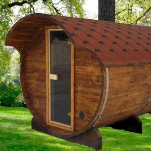 Fasssauna - liegendes Saunafass 330 mit Saunaofen 8kW