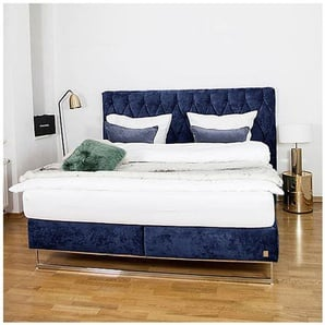 JOOP Bett Stoffbezug Dunkelblau ca. 180 x 200 cm 7-Zonen-Tonnentaschenfederkernmatratze H2