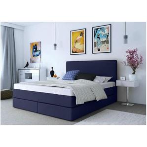 ELESS Keigo Boxspringbett Continentalbett Amerikanisches Bett Doppelbett Ehebett Gästebett Blau 180x200 cm Comfort H3-H3