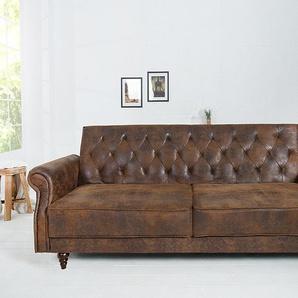 Chesterfield Sofa MAISON BELLE AFFAIRE 220cm antik braun mit Schlaffunktion