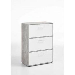 Mehrzweckschrank Beton-Optik/weiß glänzend 3 Klappen