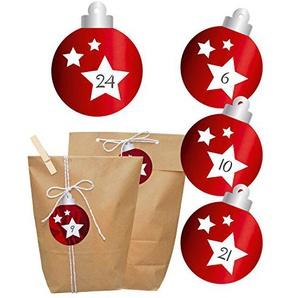 Adventskalender zum Befüllen | rote Christbaumkugel | Tüten, Aufkleber, Holzklammern & Kordel | Weihnachtskalender selber machen | Beutel in 2 Größen & Sticker mit Zahlen | glänzend foliert |