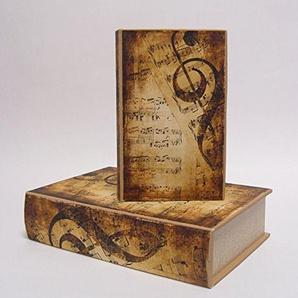 Deko Buchbox Kiste im Buchformat Aufbewahrungsbox 2er Set Nostalgie Motiv: Notenschlüssel