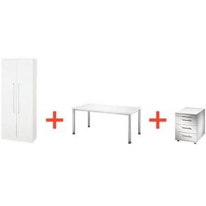 Möbel-Set »Otto Office Line I« 3-teilig, Schreibtisch mit 4-Fuß grau, OTTO Office Premium