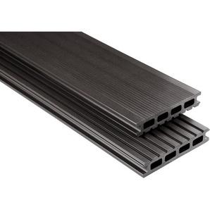 Kovalex WPC Terrassendiele glatt Graubraun Zuschnitt 2,6x14,5x570cm