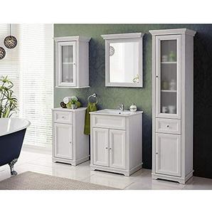 Lomadox Landhaus Badezimmer Möbel Set 5-teilig ? Andersen Pine weiß im Landhausstil ? 60 cm Waschtischunterschrank inkl Keramikwaschbecken ? Spiegel, Hochschrank, Unterschrank und Hängeschrank
