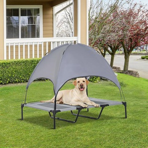 PawHut® Haustierbett mit Baldachin Erhöhte Hundeliege Hundebett Atmungsaktiv Taftstoff