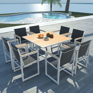 9-tlg. Garten-Essgruppe mit WPC-Tischplatte Aluminium - VIDAXL
