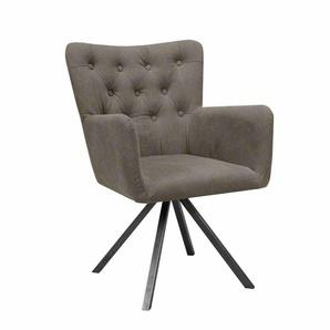 Esszimmer Sessel in Beige Stoff gesteppt (2er Set)