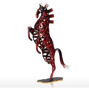 Tooarts Dekofigur Tier Skulptur Pferde Skulptur Deko Objekt Statue Dekoartikel aus Eisen Eisenpferd 24x6x37cm Rot