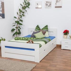 Jugendbett Easy Premium Line K6 inkl. 2 Schubladen und 1 Abdeckblende 140 x 200 cm Buche Vollholz massiv weiß lackiert