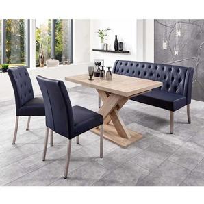 Esstischgruppe in Blau und Eiche Sonoma Bank und ausziehbarem Tisch (4-teilig)