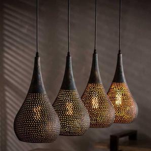 Design Pendelleuchte in Schwarz und Kupferfarben konisch geformt
