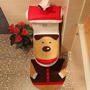 EXQUILEG Kreativ Dreiteilige Toilette,Weihnachtsdeko WC-Sitze Set mit Sitzbezug & Teppich & Deckel für Badezimmer (Davidshirsch)