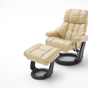 Relaxsessel XXL in cremefarbenden Echtleder inkl. Hocker, Gestell schwarz, Maße: B/H/T ca. 97/102-110/92-120 cm