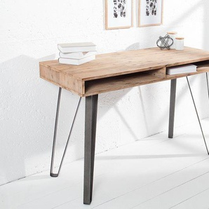 Retro Konsole SCORPION Akazie 110cm teakgrau gekälkt Schreibtisch
