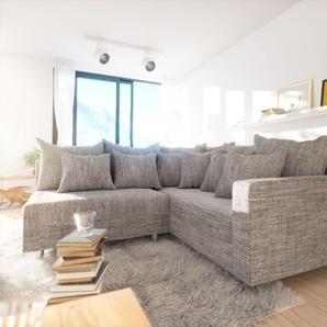 Ecksofa Clovis Hellgrau Strukturstoff Armlehne Ottomane Rechts, Design Ecksofas, Couch Loft, Modulsofa, modular