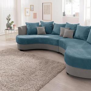 Benformato Home Collection Bigsofa, grau, Inkl. loser Zier- und Rückenkissen, hoher Sitzkomfort