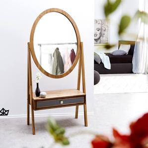 Designer-Standspiegel Stonegrace 160x77 Akazie Natur Schublade, Spiegel