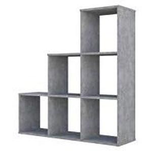 Polini Home Treppenregal Stufenregal Raumteiler Regal beton 6 Fach