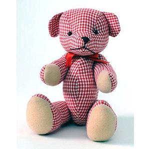 HAB & GUT -UD005V-F- Teddybär Selma, Popart Teddy, Stofftier Gingham-Muster weiß, rot, 19 cm