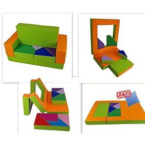 scalesport Spielsofa KG04B 4in1 Kindersofa + Decke Gratis Spielmatraze für das Kinderzimmer Spielpolster Softsofa grün/orange Puzzle Kinderzimmersofa Spieltisch Kindermöbel