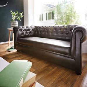 Sofa Chesterfield 200x90 cm Braun Abgesteppt 3-Sitzer, Chesterfields