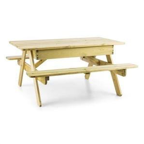 Blumfeldt Zaubersand Kinder-Picknick-Tisch Spieltisch Sandkasten Kiefer-Echtholz