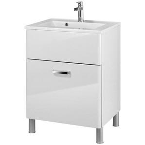 Held Möbel Mineralgussmarmor Waschtisch / Waschbecken »Mailand«, Breite 60 cm, inkl. Unterschrank