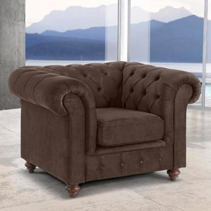 Premium collection by Home affaire Sessel »Chesterfield«, braun, Luxus-Microfaser