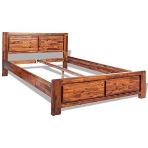 vidaXL Bettgestell Doppelbett Bettrahmen Bett Akazie Massiv Braun 180 x 200 cm