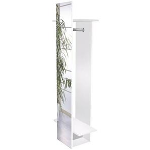 Garderobenpaneel mit Spiegel NIZZA-04 wei glanz Spiegel, BxHxT: ca. 34,1/60x175,1x30,6cm