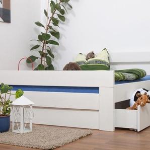 Doppelbett / Funktionsbett Easy Premium Line K6 inkl. 2 Schubladen und 1 Abdeckblende 160 x 200 cm Buche Vollholz massiv weiß lackiert