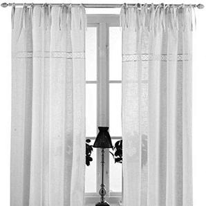 Gardinenschal Vorhang San 2er Set 120 x 240 cm (BxH) bestickt mit Spitze weiß OFFWHITE Baumwolle Landhaus Shabby French Vintage Retro Antik Nostalgie