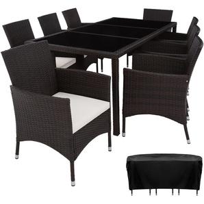 Rattan Sitzgruppe Valencia 8+1 mit Schutzhülle - Gartenlounge, Terrassenmöbel, Rattan Lounge - schwarz/braun - TECTAKE